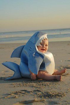 Shark Romper Baby Costume - The perfect combination of adorable and fearsome! Your little one will add rows of shark chompers to the baby teeth with the headpiece of this baby Halloween costume, which also includes a jumpsuit and a detachable dorsal fin. So Cute Baby, Baby Kind, Baby Love, Cute Kids, 3 Kids, Kids Girls, Baby Girls, Shark Costumes, Cute Costumes