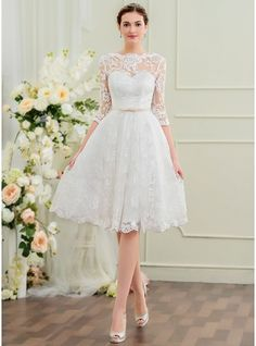 A-Line/Princess Scoop Neck Knee-Length Bow(s) Zipper Up Sleeves 1/2 Sleeves Hall Reception General Plus No Winter Spring Summer Fall Ivory Lace Height:5.7ft Bust:33in Waist:24in Hips:34in US 2 / UK 6 / EU 32 Wedding Dress, JenJenHouse.com