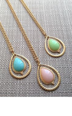 Teardrop Mint Pink Pastel Matte Gold Pendant long by AmyOHandmade, $12.00 Gold Pendant, Pendant Necklace, Spring Awakening, Matte Gold, Turquoise Necklace, Trending Outfits, Unique Jewelry, Handmade Gifts, Pink
