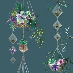 Statement wallpaper from Holden Decor's Glass House Collection. Luxurious terrarium floral style design in rich teal and gold Teal Wallpaper, Plant Wallpaper, Wallpaper Direct, Pattern Wallpaper, Beautiful Wallpaper, Wallpaper Ideas, Teal Color Schemes, Hanging Terrarium, Hanging Flower Baskets