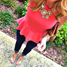 Spring Outfit. peplum, jeans, statement necklace, sandals
