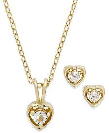 Lily Nily Children's 18k Gold over Sterling Silver Necklace and Earrings Set, April Birthstone White Topaz Heart Pendant and Stud Earrings Set (1/5 ct. t.w.)