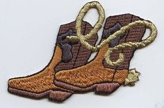 Iron On Embroidered Applique Patch Western Brown Cowboy Boots with Rope