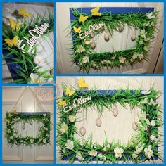 Blue Easter door decoration! Hand made,with flowers,eggs and butterflies!