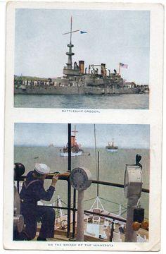 US Navy ship Battleship - USS Oregon / Minnesota - Split view