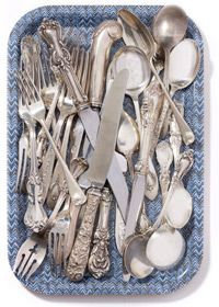"""""""When the meal is buffet-style, I can't be bothered to roll silverware into napkins. So I pile a bunch of vintage flatware on a tray and let everyone have at it."""" --Leanne Shapton"""