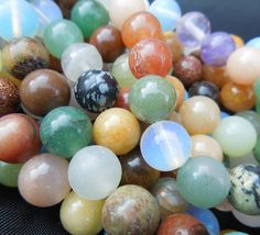 16in Mixed Semi Precious Gemstone Round Beads for Jewellery Making
