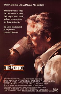 The Verdict , starring Paul Newman, Charlotte Rampling, Jack Warden, James Mason. A lawyer sees the chance to salvage his career and self-respect by taking a medical malpractice case to trial rather than settling. Charlotte Rampling, Paul Newman, 80s Movies, Movies To Watch, Good Movies, Love Movie, Movie Stars, Movie Tv, Movie Props