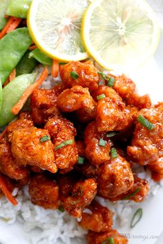 Chinese Food Recipes | Sticky-Honey-Lemon-Ginger-Chicken | carlsbadcravings.com