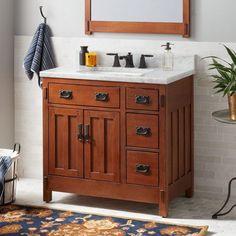 American Craftsman Vanity for Rectangular Undermount Sink - Rustic Oak - Bathroom Rustic Bathroom Vanities, Bathroom Red, Rustic Bathrooms, Single Bathroom Vanity, Bathroom Ideas, Blue Bathrooms, Bathroom Cabinets, Indian Bathroom, Bathroom Vintage