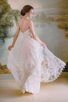 Float your way down the aisle in the ethereal Anais gown by Claire Pettibone. It features a jaw-dropping combination of decadent elements and details. Mon Cheri Wedding Dresses, Wedding Dress Backs, 2015 Wedding Dresses, Wedding Gowns, Claire Pettibone, Bridal Collection, Dress Collection, Mermaid Dresses, Flower Girl Dresses