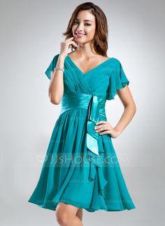 Bridesmaid Dresses - $99.99 - A-Line/Princess V-neck Knee-Length Chiffon Charmeuse Bridesmaid Dress With Cascading Ruffles (007051852) http://jjshouse.com/A-Line-Princess-V-Neck-Knee-Length-Chiffon-Charmeuse-Bridesmaid-Dress-With-Cascading-Ruffles-007051852-g51852