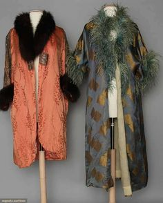 TWO SILK OPERA COATS, 1910-1920 1 salmon w/ fur trim; 1 blue brocade w/ feather trim.