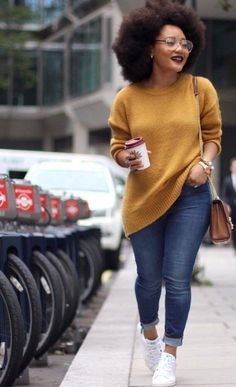 This is literally me in the future #naturalhairjourney #everdaystyle Mustard Jumper, Black Women Fashion, Curvy Girl Fashion, New Fashion, Look Fashion, Fashion Models, Womens Fashion, Black Girl Style, Black Girl Swag