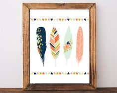 INSTANT DOWNLOAD, Tribal Feather Print, Printable Wall Art, Feather Art, Feather Nursery, Feather Wall Decor, Kids Prints, Childrens Prints by AdornMyWall on Etsy