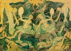 Marlene Steyn, 'Intra-uterine happiness with eggs' (2015), Oil on linsead oil-soaked paper double- sided, 48 x 33cm each (unframed), 59 x 71.5cm (framed)