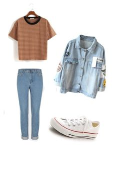 """Blå mandag outfittet"" by josephinegrundet ❤ liked on Polyvore featuring Converse"