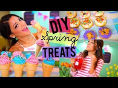 Easy + Yummy Spring Treats! DIY Donuts, Ice-cream Cupcakes + Strawberry Lemonade! - YouTube