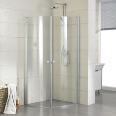 "33"" x 33"" Halvor Round Corner Shower Enclosure - with Tray - Polished Aluminum"