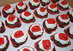 Firefighter baby shower Ideas | ... : Red and Aqua Fire Truck Baby Shower Cake, Cupcakes and Favors
