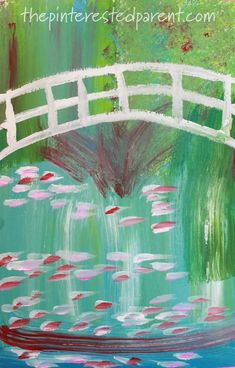 Bridge Over A Pond Of Water Lilies inspired impressionism art for kids. Artist inspired arts and crafts ideas Artists For Kids, Art For Kids, Kid Art, Monet Paintings, Watercolor Paintings, Sponge Painting, Kids Artwork, Impressionism Art, Famous Artists