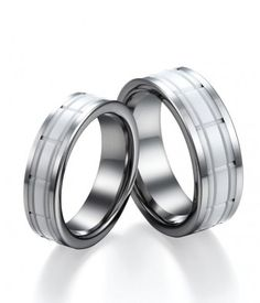 Couple's Tungsten Wedding Bands with Grooved White Ceramic Center| Tungsten Carbide Rings 24HOUR SHIPPING