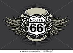 Route 66 Racing Design: Vector illustration of a racing emblem design with a Route 66 highway sign, blank banners, checkered flag and wings - stock vector Route 66 Decor, Blank Banner, Biker Clubs, Work Inspiration, Vintage Signs, Metal Art, Badge, Classic Cars, Wings