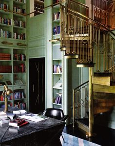 Amazing home office by Kelly Wearstler. Those stairs!!!