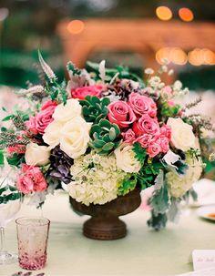 Pink White Green Wedding Centerpieces