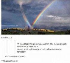 Rainbow in tornado