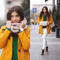 Brightening the grey day with my outfit, today on my blog: http://themysteriousgirl.ro/2014/11/green-and-mustard/