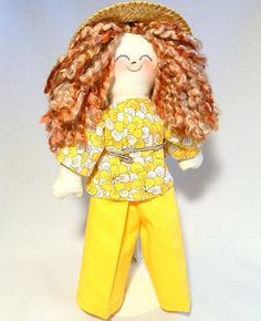 Handmade Rag Doll Redhead in Yellow by I Knit Quilt Sew