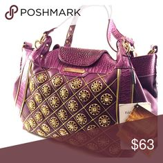 Nicole Lee Handbag This purple Nicole Lee Handbag is dazzled with gold stud, plenty of room, and perfect for any occasion Nicole Lee Bags Totes
