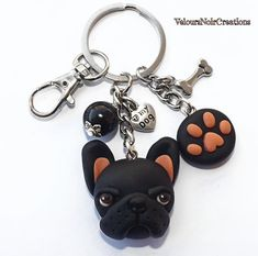 "Black French bulldog and footprint paw keychain,Hand created polymer clay, pearl black acrylic, bone and heart with words ""my dog"" Tibetan silver, lobster clasp to be hooked to the bag. Polymer Clay Animals, Polymer Clay Dolls, Polymer Clay Miniatures, Polymer Clay Charms, Polymer Clay Jewelry, Small Dog Accessories, Clay Magnets, Clay Cats, Clay Figures"