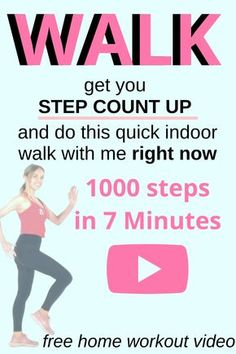 Free Exercise Home Workout Video & just 7 minutes of walking to help boost your step count by approximately 1000 steps. Do it now and invest in your health and give your energy leves a boost. Lucy Source by Home Workout Videos, At Home Workout Plan, At Home Workouts, Workout Plans, Walking Training, Walking Exercise, Walking Workouts, Fitness Video, Health And Fitness Tips