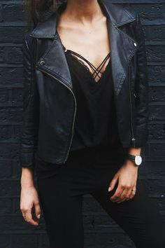 leather & lace, street style, black, women's, lingerie, all black everything