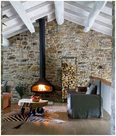 love this wood burner and stone wall