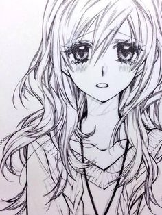 Sketch Of An Anime Female With Flowing Wavy Hair How To Draw Eyes