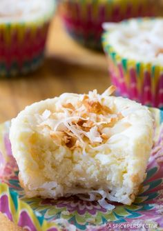 Fast and simple Coconut Cheesecake Muffins with Macaroon Crust Recipe - A heavenly treats great for all occasions! Gluten free, low carb, and delicious!