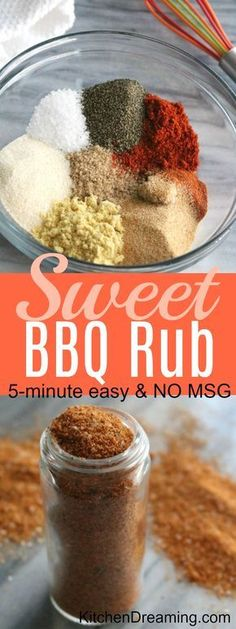 EASY Sweet BBQ Rub Recipe takes just 5 minutes to prepare and uses ingredients already in your spice pantry. Don't buy a prepackaged mix when you can very easily make your own. Sweet BBQ Rub EASY Sweet BBQ Rub Recipe takes just 5 minutes to… Bbq Seasoning, Seasoning Mixes, Homemade Spices, Homemade Seasonings, Sweet Bbq Rub Recipe, Grub Rub Recipe, Bbq Dry Rub, Dry Rubs, Dry Rub Recipes