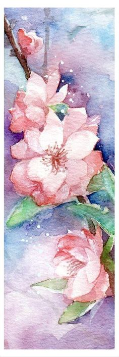 Blossom bookmark by White-Anemone on DeviantArt Purple Roses, Pink Flowers, Watercolor Flowers, Watercolor Art, White Climbing Roses, White Anemone, Instagram White, Rainbow Butterfly, Print Pictures