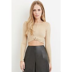 Forever 21 Forever 21 Women's  Knotted Faux Suede Crop Top ($18) ❤ liked on Polyvore featuring tops, knot top, knot front top, forever 21, long sleeve crop top and crop top