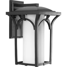Progress Lighting's Promenade one-light wall lantern with bulb in a Black finish.