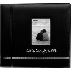 ConsumerCrafts Product Pioneer® Memory Book - Live Laugh Love - Black Leatherette - 12 x 12 inches