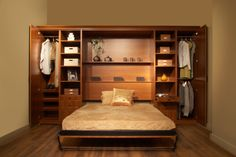 Bedroom. Rustic Wooden Murphy Bed With Gold Quilt On The Wooden Floor Mixed With Cream Room Color Idea: Awesome Murphy Bed Ideas For Cool Be...