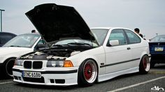 White BMW e36 compact on BBS RS cult wheels