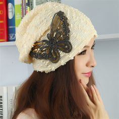 2017 Arrival Korean Women Best Deal New Good Quality Hats Female Winter Autuam Lace Butterfly Beanie Lady Warm knitting Caps #Affiliate