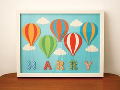Hot Air Balloon Handmade Personalised Children's Name by MrsPeabod, £35.00