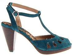Teal cutwork suede shoes by Anusha