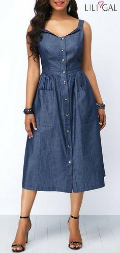 6798b3c85d81 Stylish Button Up Open Back Pocket Denim Blue Dress